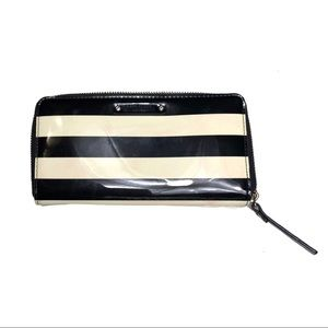 Kate Spade Accordion Wallet Black Ivory Striped